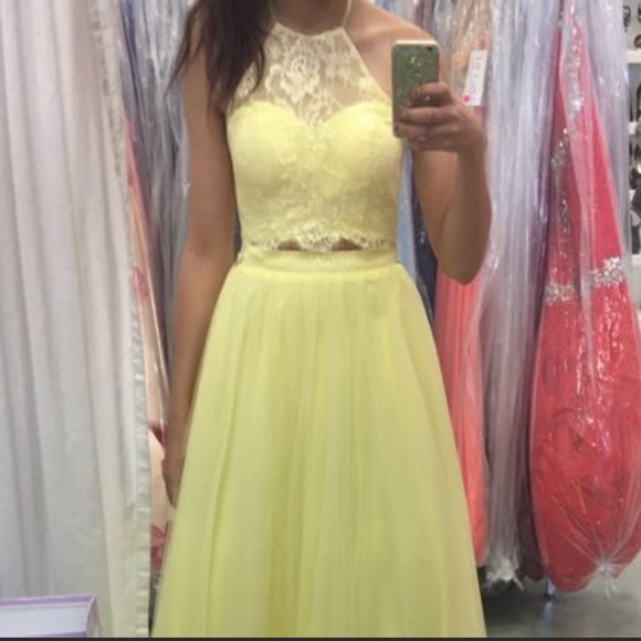 Madison James Dresses Pale Yellow Halter Two Piece Prom Dress